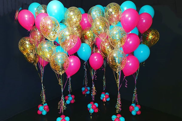 Blue Pink And Gold Balloon Bouquet Perth Kwinana