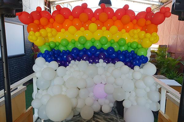 Rainbow Balloon Wall Decoration Perth Kwinana