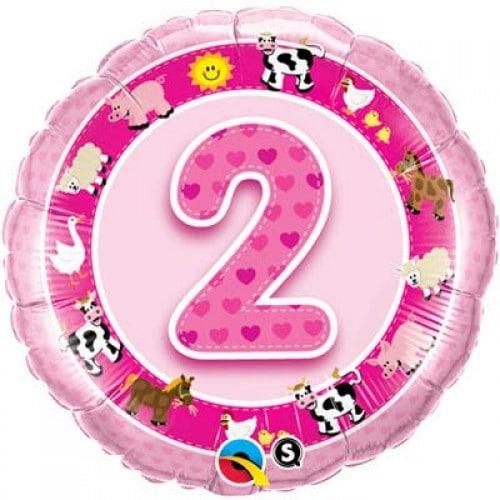 2nd Birthday Pink Farm Animals