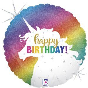 Glitter Unicorn Happy Birthday